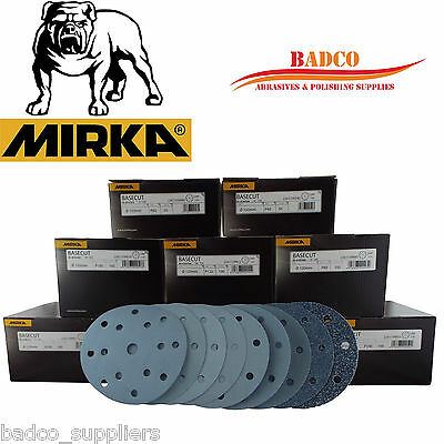 "150mm Sanding Discs / Sandpaper MIRKA Basecut 6"" Hook and Loop Vecro 15 Holes"