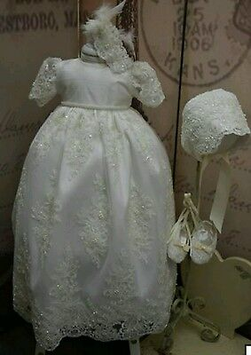 christening silk lace gown set shoes, bonnet and dress. brand new