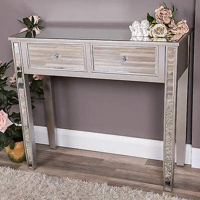 Mirrored Dressing Console Table Bedroom Furniture Hallway Chic Glass Silver Home