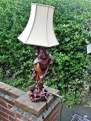 Fine signed large Antique Chinese carved wood figure lamp Qing dynasty c 1900