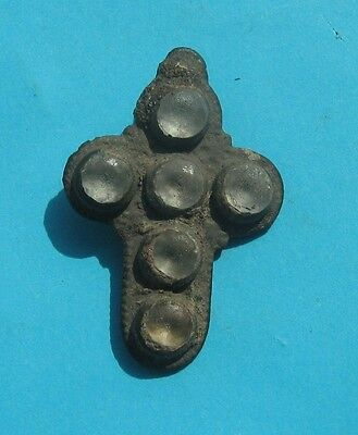 Stunning Medieval Period Bronze Cross Pendant With 6 Stones