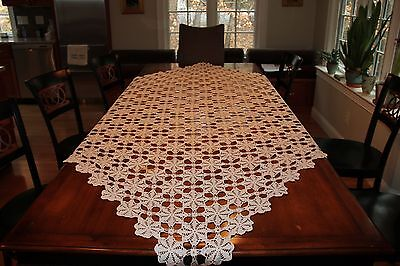 Antique Handmade Irish Lace Crocheted Tablecloth 84X76