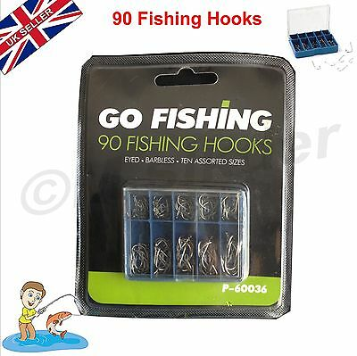 FISHING HOOKS 90 Pack of Hooks Eyes 10 Assorted Sizes Barbless All Speeds Water
