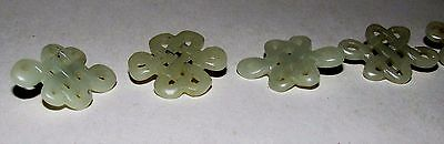 Antique Chinese Qing Celadon Jadeite Buttons Buddhist Endless Knot 5 c.1850-1899