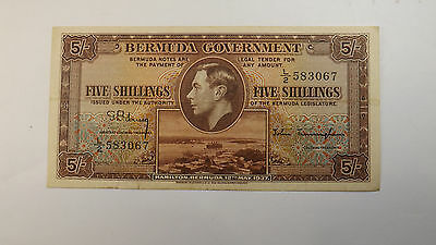 1937 Five Schillings Bermuda Government VF Condition Rare Note Lot#215