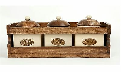 County Kitchen Rustic Wooden Rack with Tea, Coffee and Sugar Jars Pots STC781007