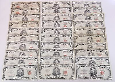 $150FV 1928 1953 1963 $5 Red Seal United States Notes Lot of 30 Bills