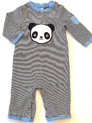 Baby Boys Gymboree 3-6 Months One Piece Romper HAPPY PANDA Stripes Outfit GUC
