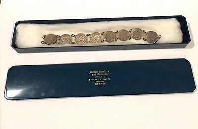 Rare Vintage England Great Britain Silver Three 3 Pence Coin Bracelet 1915-1936