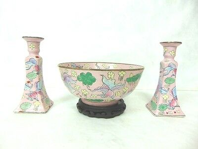 Vintage Hand Painted Chinese Porcelain Bowl & Candlestick Set