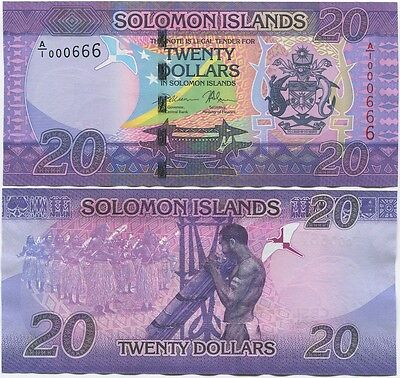 Solomon Islands 20 Dollars 2017 UNC, P-34 B223, New design, Low S/N, A/1 prefix