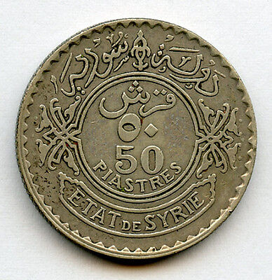 Syria 1929 Issue 50 Piastres Silver Coin Toned Choice Vf+Xf.