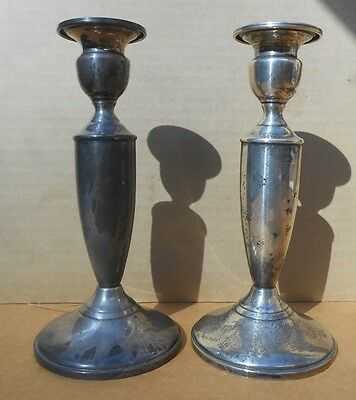 Mueck-Cary Co., NY,NY - Weighted STERLING CANDLESTICKS Pattern 344 - PAIR - EX.