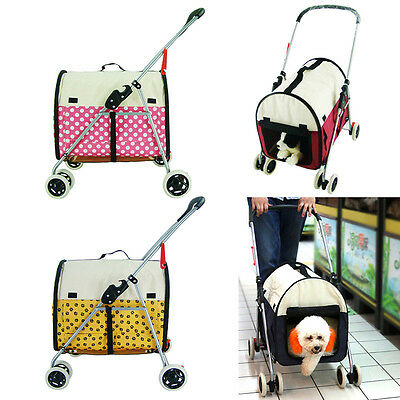 New Pet Stroller Multiuse 4 Wheels Dog Carrier Outdoor Tote Bag Cat Folding Cart