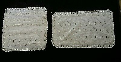 6 Vintage White Cotton Broderie Anglaise Lace Place Mats