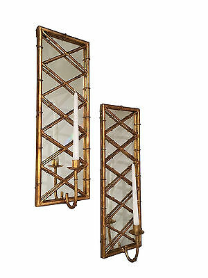 """summer Palace"" Stylized Bamboo Wall Sconce Pair - Candle Holder - Antique Gold"