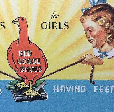 Antique Original RED GOOSE SHOES Half the Fun of FEET Advertising Ink Blotter