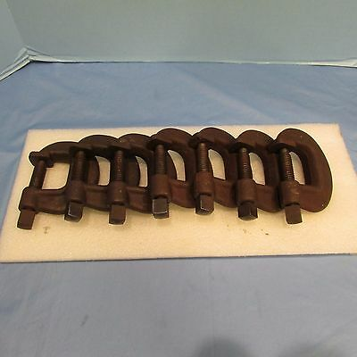 "LOT OF 7 Williams CC # 2 Heavy Duty Service C Clamp Welding 1 1/2"" A 1 ¾"" Throat"