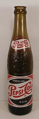 1950's AMBER ACL PAINTED LABEL SODA - PEPSI-COLA   JACKSONVILLE,FLA. 10oz.