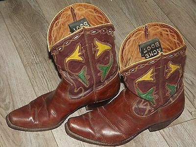 Vintage 1950's Acme Cowboy Boots Sz 8.5B Yellow & Green Inlay Flowers Distressed