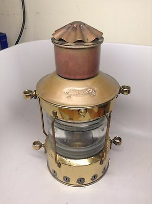 Vintage Ankerlight Kerosene Copper & Brass Ship Lantern Light Nautical
