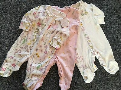 BNWT - Next Girls 3 Pack Flower sleepsuits 0-3 months New Tagged