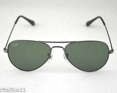 Ray Ban RB3044 Aviator Small W3100 Gunmetal frame/ Green Classic G-15 Lenses