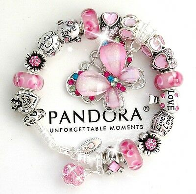 Authentic Pandora Silver Bracelet Pink Butterfly MOM MOTHER European Charms New