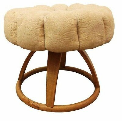 Mid Century Danish Modern Heywood Wakefield Wheat Pouf/Vanity Swivel Stool #2