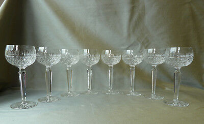 8 Crystal Hock Wine Glasses with Faceted Stem, not signed, VGC
