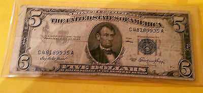 1953 $5.00 Blue Seal Silver Certificate Misaligned Miscut  (in 2 places) ERROR !