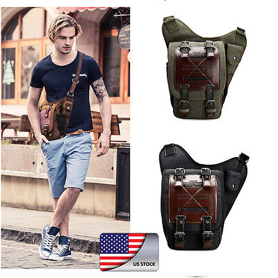 Men's Vintage Canvas Leather Messenger Shoulder Bag Military Travel Satchel NEW