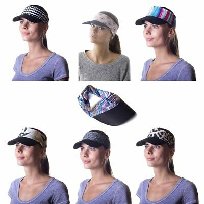 Women's Sun Visor Hat with Ponytail Hole UV protection Shade Cap with Wide Brim
