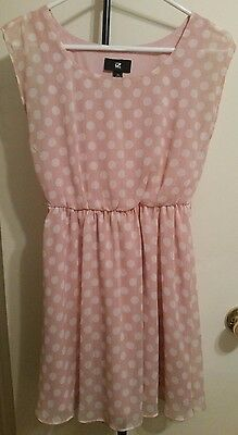 Pink Juniors dress with White polka dots Size XS