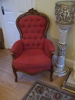 French style button back armchair