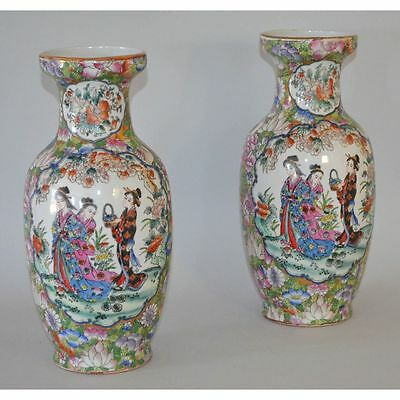 Pair Vintage Hand Painted Famille Rose Porcelain Chinese Vases Court Scene