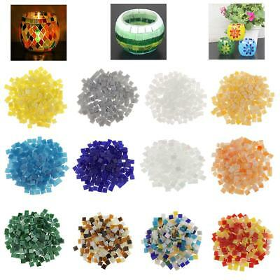250pcs Colorful Glass Pieces Mosaic Tiles Tessara Square for DIY Crafts 10x10mm