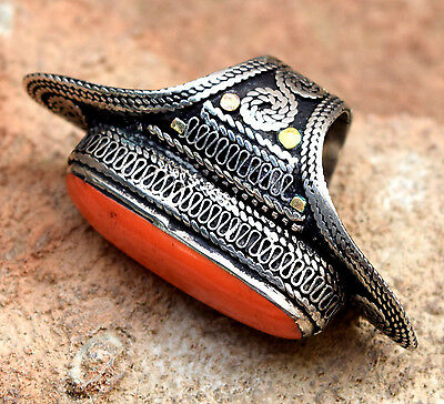Big Kuchi Tribal Afghan Ring Bohemian Saddle Vintage Ethnic Turkmen Boho Jewelry