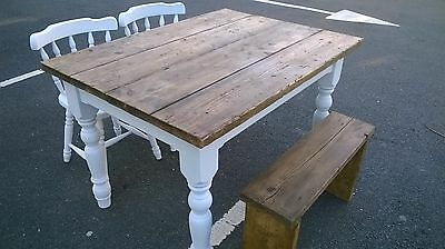 farmhouse dining table set, 2 chairs and bench.