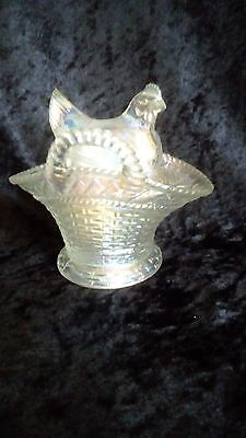 Westmoreland Clear Irridized Carnival Glass Hen On Nest / Basket Covered Dish