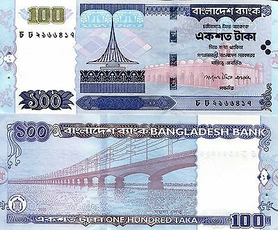 BANGLADESH 100 Taka Banknote World Paper Money aUNC Currency Pick p-44 Stapled
