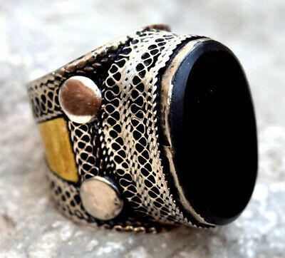 Black Onyx Stone Ring Turkmen Tribal Kuchi Afghan Jewelry Ethnic Gypsy Boho Ring