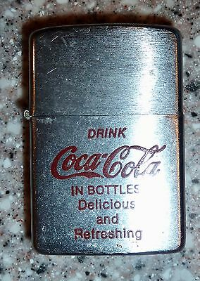 "Vintage ""Drink Coca Cola in Bottles, Delicious and Refreshing"" Flip Top Lighter"