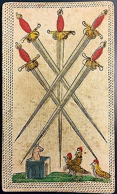 Five of Swords Minor Arcana c1820 Antique Tarot Playing Cards Colour Single +COA