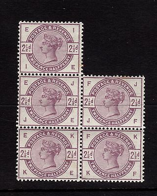 1883-4  2½d Lilac Sg 190 block of 5 - UNMOUNTED MINT