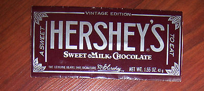 1970s or 1980s HERSHEY'S Sweet Milk Chocolate Vintage Edition Candy Bar WRAPPER