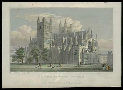 1830 DEVON - Original Antique Engraving N.W. VIEW OF EXETER CATHEDRAL (21)