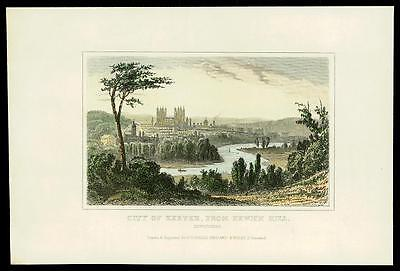 c1840 DEVON - Original Antique Engraving CITY OF EXETER FROM EXWICK HILL (15)