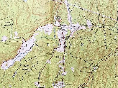 HADDAM CT TOPOGRAPHICAL MAP c1952 Cockaponset State Forest Cranberry Bog etc etc