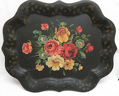 Vintage Hand Painted Floral Tole Tray rb6